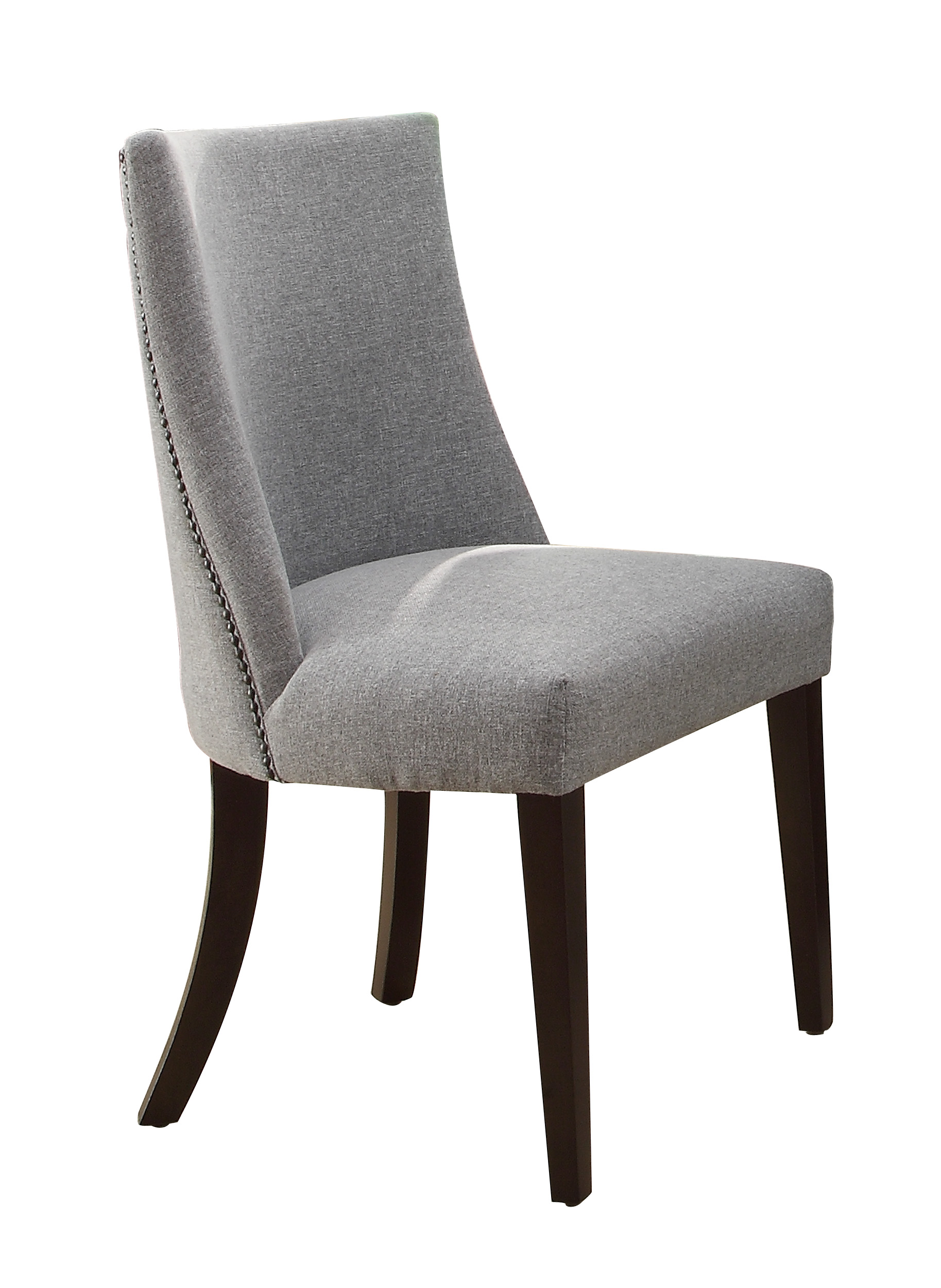 Chicago grey upholstered side dining chair set of 2 for Upholstered dining chairs