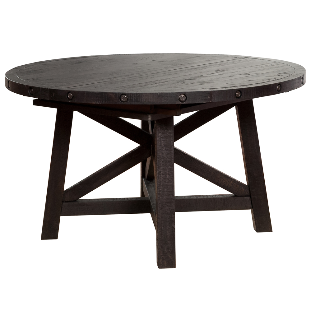 Sheridan round extension pine dining table wood metal for Extension dining table