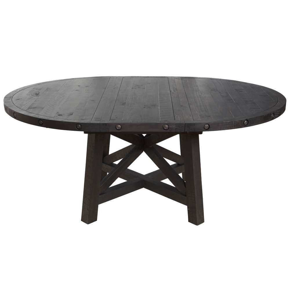 Sheridan round extension pine dining table wood metal for Round extension dining table