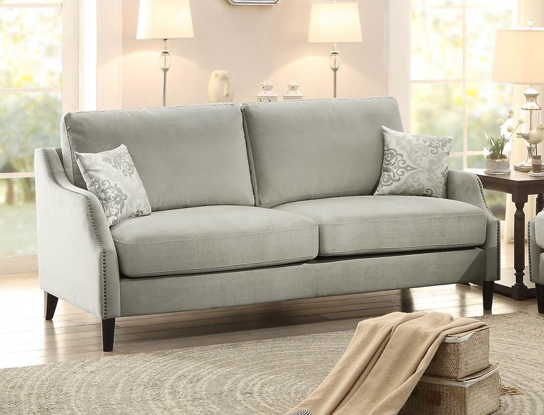 Sophia Graphite Grey Sofa W Nailheads Sofas Amp Couches