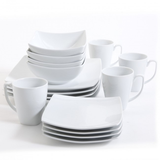 Monarch White Square Dinnerware Set Dinnerware Sets