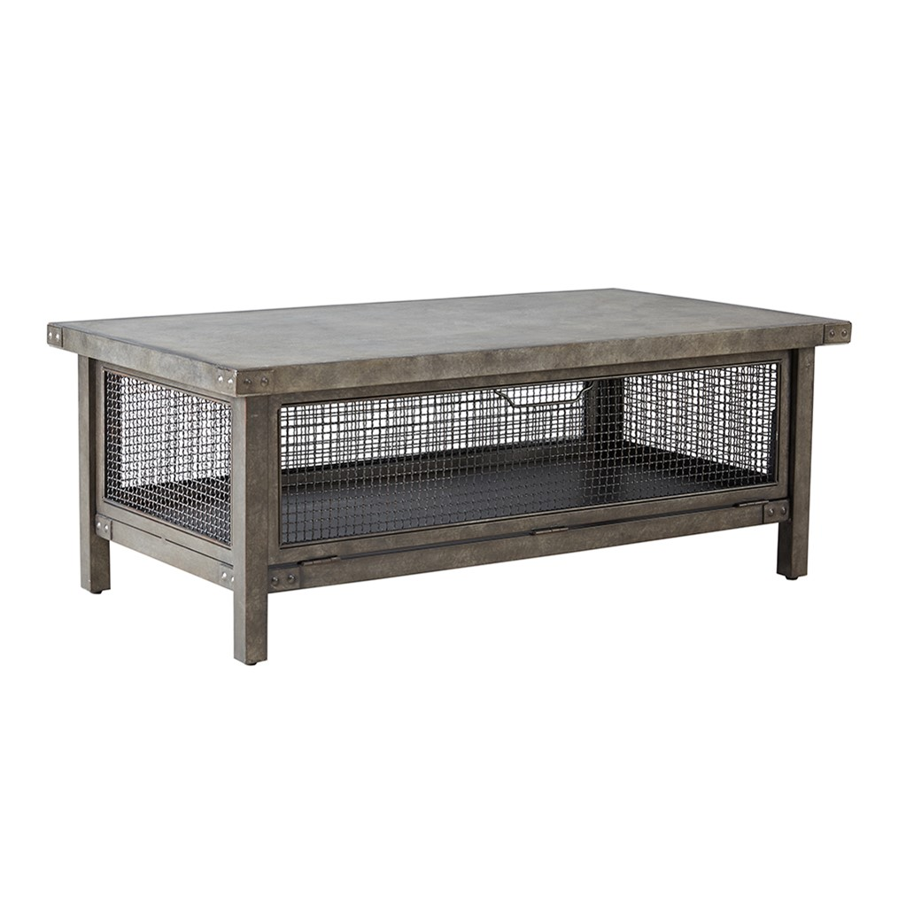 Industrial Concrete & Metal Mesh Storage Coffee Table Cody Coffe