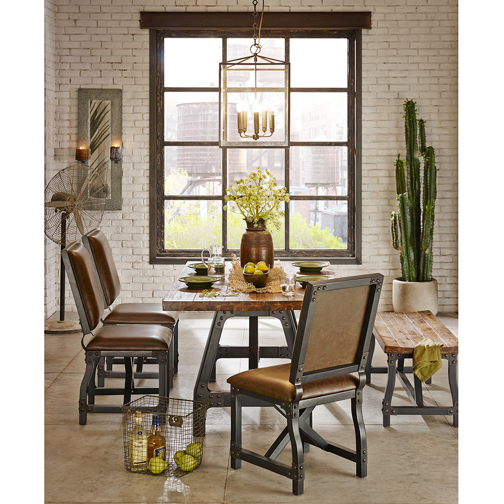 Categories. Cheyenne Extended Gathering Dining Table   Industrial Wood Dining