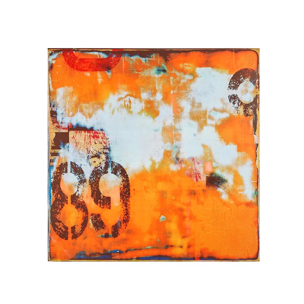 Urban orange abstract 40 x 40 mdf wall art for Orange wall art