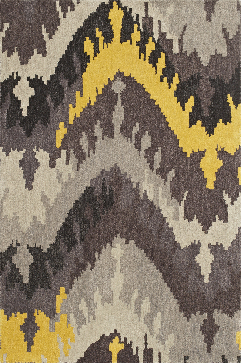 Impulse Grey Ikat Art Silk Amp Hand Tufted Wool Pile Rug