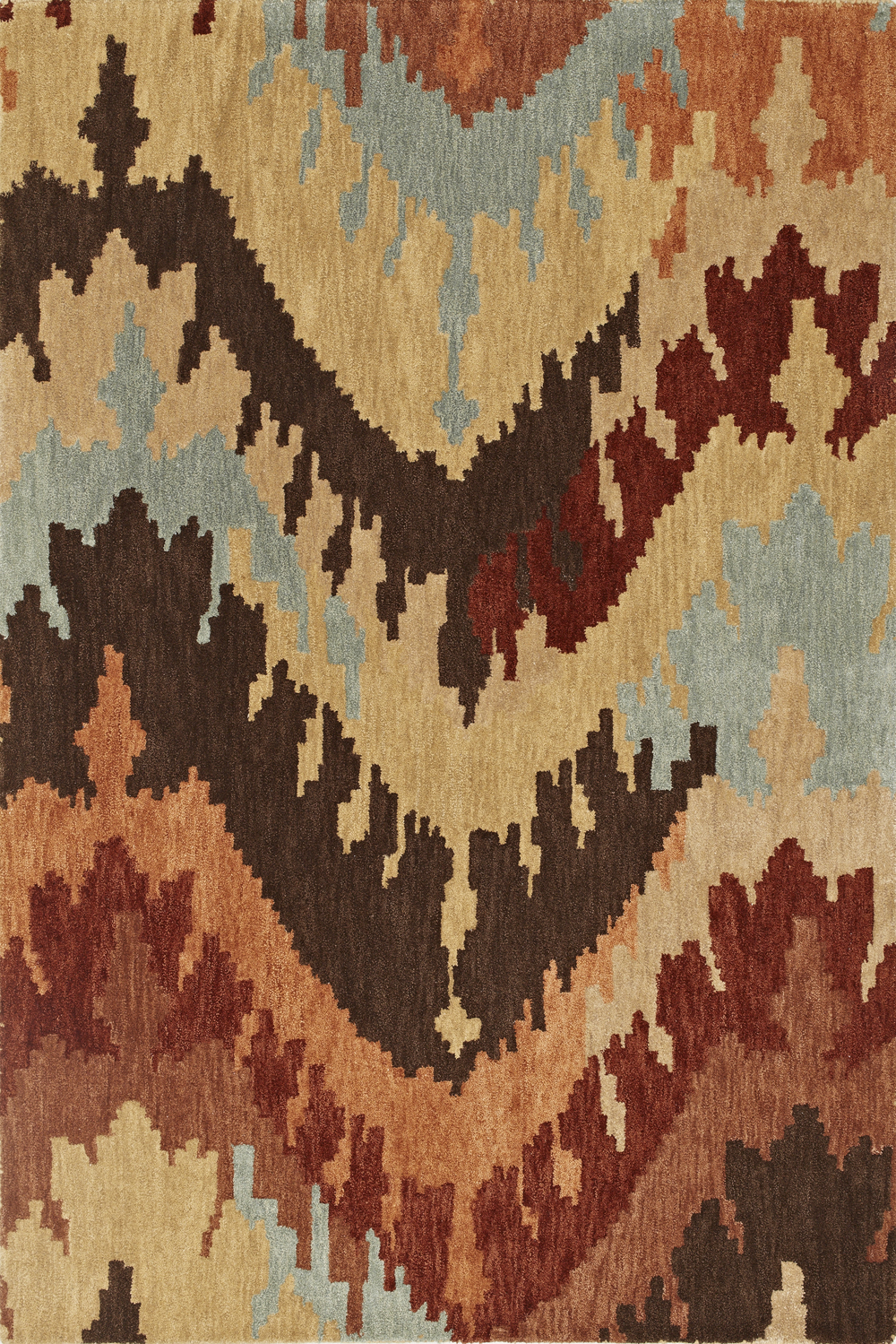 Impulse Taupe Ikat Art Silk Amp Hand Tufted Wool Pile Rug