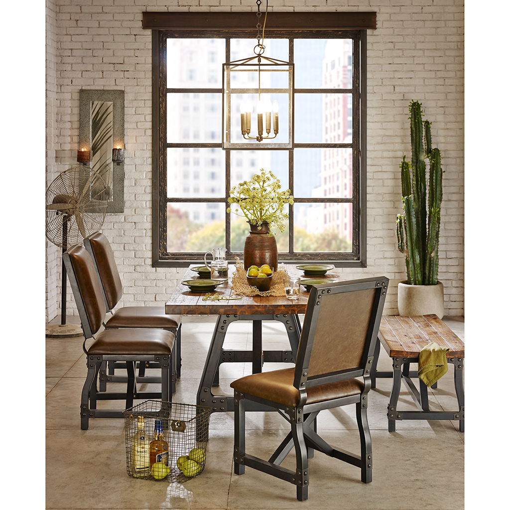 cheyenne 7 pc industrial rustic dining set - Rustic Dining Set