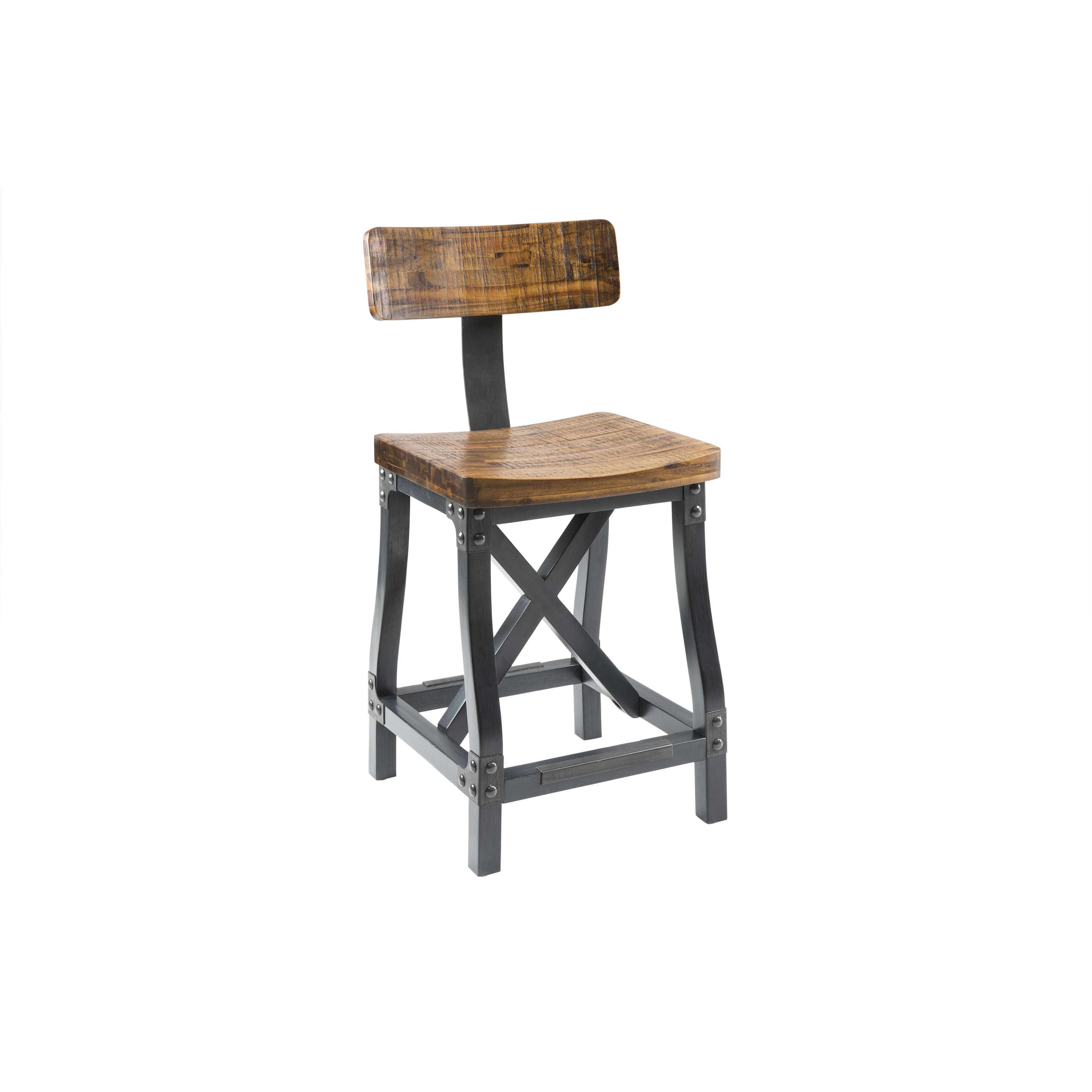 Cheyenne Counter Height Bar Stool W Back Rustic Counter Stools Furniture Abode Company