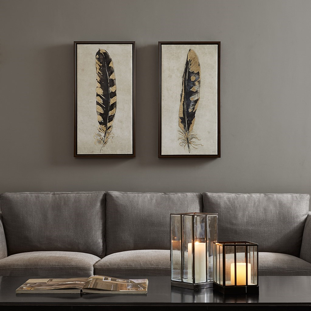 Guilded Feathers Printed Canvas 2 Piece Framed Set