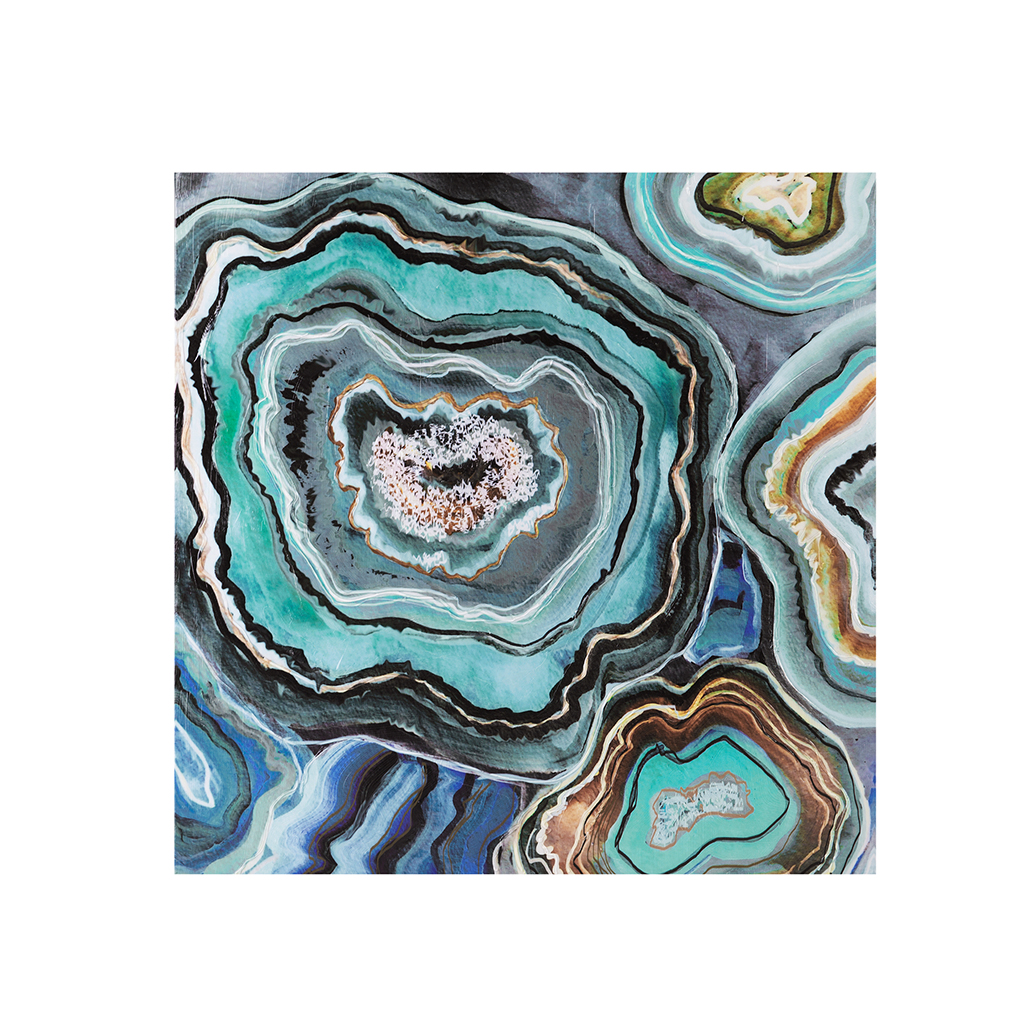 Aqua Agate Printed Canvas With Gel Coat Abstract Wall