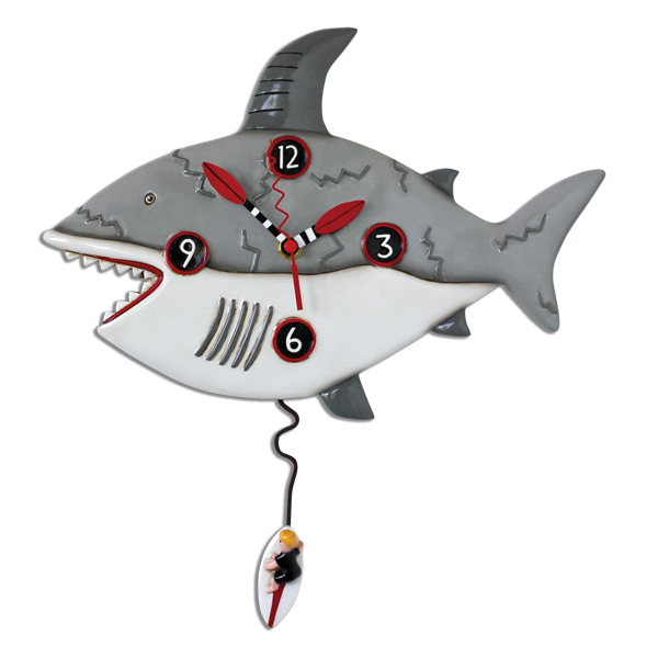 Surf At Risk Shark Pendulum Wall Clock By Allen Designs