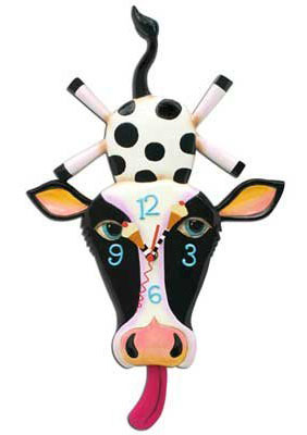 Cow Cream Pendulum Wall Clock By Allen Designs