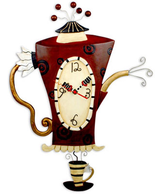 Steamin tea pendulum wall clock by allen designs - Witzige wanduhren ...
