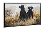 Watchful Black Labs Framed Wall Art Canvas
