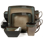 Tequesta Taupe 16 Piece Square Dinnerware Set