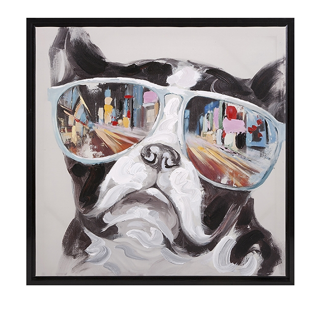 City Shades Dog Framed Oil Canvas Painting