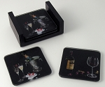 Wine Assortment Artisan Glass Martini Coasters - set of four by Michael Godard