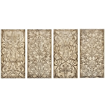 Royal Crest Wood Wall Art set of 4