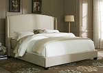 Natural Linen Winged Upholstered Bed