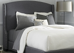 Grey Linen Winged Upholstered Bed