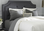 Grey Linen Sloped Upholstered Bed