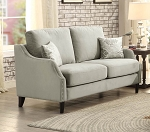 Sophia Graphite Grey Love Seat w/ Nailheads