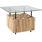 Bernard Acacia Wood & Glass Coffee Table