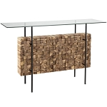 Bernard Acacia Wood & Glass Sofa Table