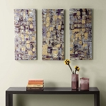 Madison Park Gilded Violet Canvas Art - 3 Pc Set