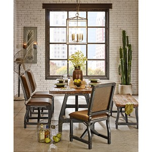Cheyenne 7 PC Industrial Rustic Dining Set