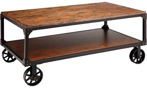 Benicia Coffee Table with Metal Rolling Wheels