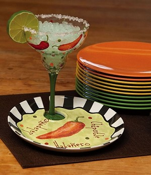Margarita Glass With Appetizer Plate Set