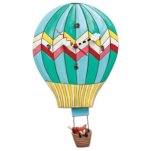 Fox Aloft Hot Air Balloon Wall Clock By Allen Designs