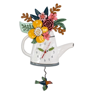 Blossoms Watering Can Flower Wall Clock by Allen Designs