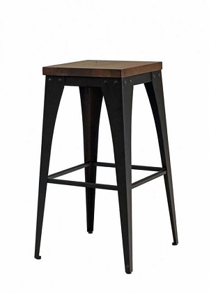 "Upright 30"" Metal/Wood Stool"