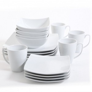 Monarch 16 Piece White Square GE Dinnerware Set